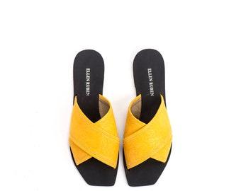 Vegan Sandals, Yellow Sandals, Slide Sandals, Women's Shoes, Women's Sandals, Flat Sandals, Slip Ons, Mules, Women's Slides, Summer Shoes