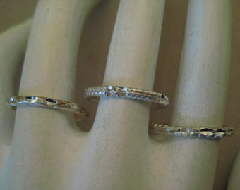 3 PIECE Set STERLING Silver .925 Textured Stackable Band Rings AVON 3 Piece Ring Set Size 6.5 In Original Gift Box (2 Sets Available)