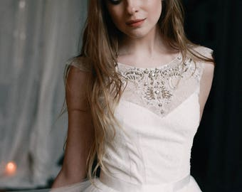 Tulle wedding gown // Gardenia / Lace wedding dress, ivory bridal dress, classic wedding, bohemian wedding dress, A line bridal gown