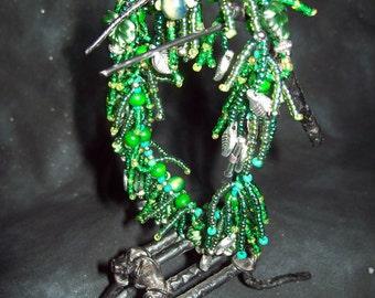 Evergreen Leaves Fringed Bracelet