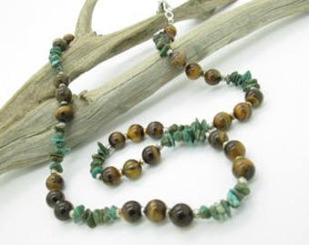Rustic Beaded Necklace, Turquoise and Tiger Eye Necklace, Casual Necklace
