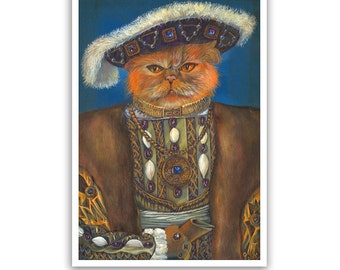 Cat the Red King / English Cat Art Print / Royal Cat Portraits of Animal Century