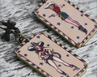 Cowgirl Earrings - Sharp Shooter Earring - Sailor Jerry Earring - Cowgirl Earring - Shrink Plastic - Country - Cowgirl - Country - Stars