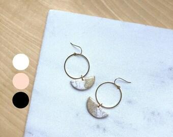 Statement earrings Geometric earrings Polymer clay jewelry Dangle earrings Minimalist earrings  Half moon earrings Open circle earrings