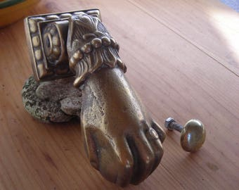 Antique brass hand door knocker.  Old French hand door knocker. French Door Knocker with Striker.