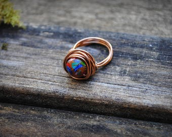 Uruvela - Magnesite Crystal Wire Wrap Ring