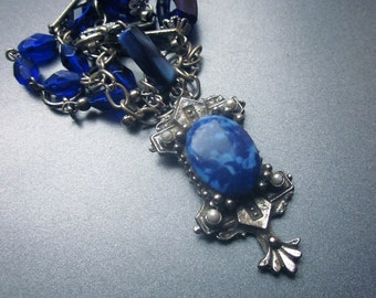 Statement Cobalt Glass Assemblage Necklace Repurposed