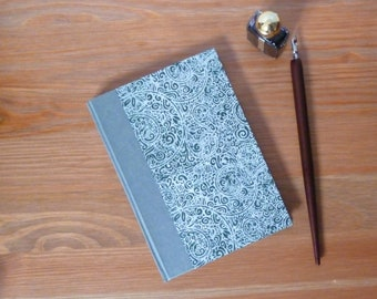 Hand bound notebook, A6 hardback, journal, bullet journal, parchment paper, notebook, silver, botanical