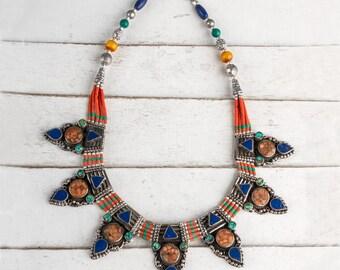 Turquoise Necklace, Boho Necklace, Turquoise Bead Necklace, Boho Chic Necklace, Tribal Necklace, Tibetan Necklace
