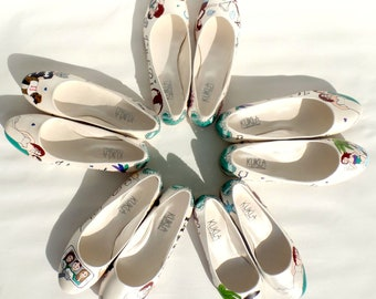 Bridesmaids Shoes, Customized Hand Painted Emerald Green Flats