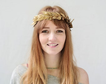 Gold Leaf Crown, Gold Leaf Headband, Laurel Wreath, Gold Crown, Roman Leaf Crown, Gold Laurel Headpiece, Laurel, Leaf Circlet, Toga Costume