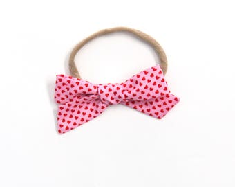 Pink and Red Heart Medium Knotted Bow