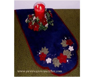 Folk Art Flowers Wool Table Topper Runner and Centerpiece Pattern with Free US Shipping and JAB Flower Buttons Included