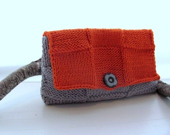 Cluch-OraNge GrAy---- CoTTon-Gray Button- Great gift for her--handmade by me Valentine day gift