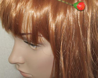 fashion accessory hair barrette polymer fimo bronze Strawberry
