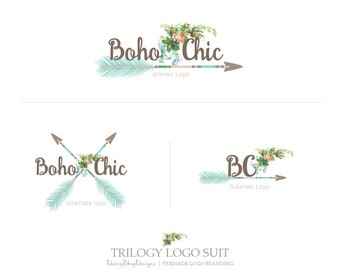 Trilogy Logo Suit,Primary Logo,Secondary Logo,Sub Logo,Black & White Watermarks-Floral,Arrow,Boho-Peach,Teal,Brown-Logo Branding Package