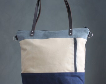 Waxed Canvas Tote Bag,3-Tone