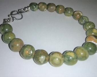 Rhyolite Sterling Silver Gemstone Bracelet 8 inches long