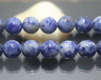 Faceted Blue Spot Beads, Gemstone beads, 128 Faceted round beads, 15 inch per strand ( 6 mm 8mm 10mm 12mm )