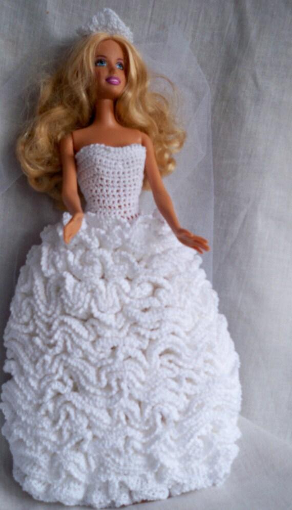 Custom Crocheted White Barbie Wedding Gown in White Cotton