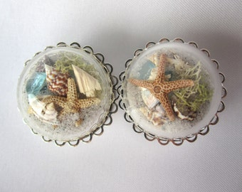 "Pair of Beach in a Bubble Statement Plugs -Real Sand Shells Sea Glass Starfish 6g, 4g, 2g, 0g, 00g, 7/16"", 1/2"", 9/16"", 5/8"", 3/4"", 7/8"", 1"""