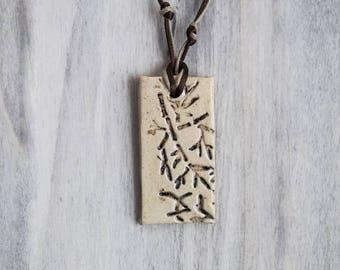 Ceramic pendant rectangular spirit Japanese print branches