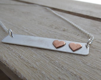 Silver heart necklace Silver bar necklace Silver heart bar necklace Silver necklace with copper hearts Heart necklace Heart jewellery