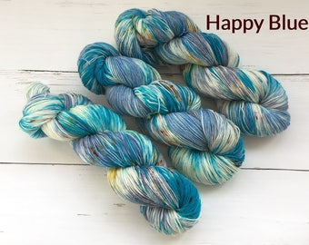 Variegated Blue-Sock yarn - Hand dyed yarn, 75/25% superwashed merino wool /nylon