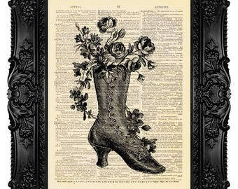 Victorian Shoe - Dictionary Art Print Vintage Upcycled Antique Book Page no. 262
