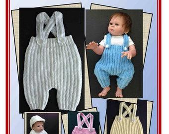 Crochet Pattern Baby Pants with Suspenders, Knee Length, Newborn-6 Months