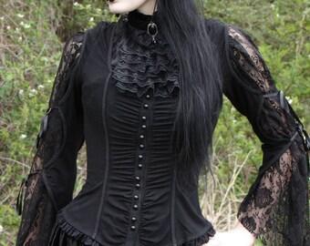 Black Lace Jabot / Romantic Goth Ruffled Lace Collar / Victorian Jabot / Aristocratic Regency Historic Steampunk Cosplay