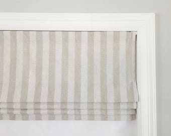 Faux (fake) flat roman shade valance. Your choice of fabric(up to 10 dollars/yd)! Custom Sizing. Canopy Stripe Blend Cloud/Oatmeal