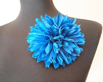 Blue Silk Dahlia Flower Brooch & Hair pin
