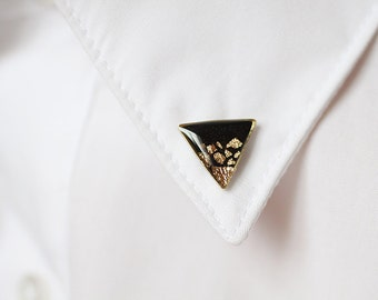 Black Gold Triangle collar brooches - Geometric collar pin - shirt accessory