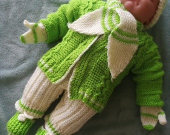 Hand knit baby boy home coming outfit