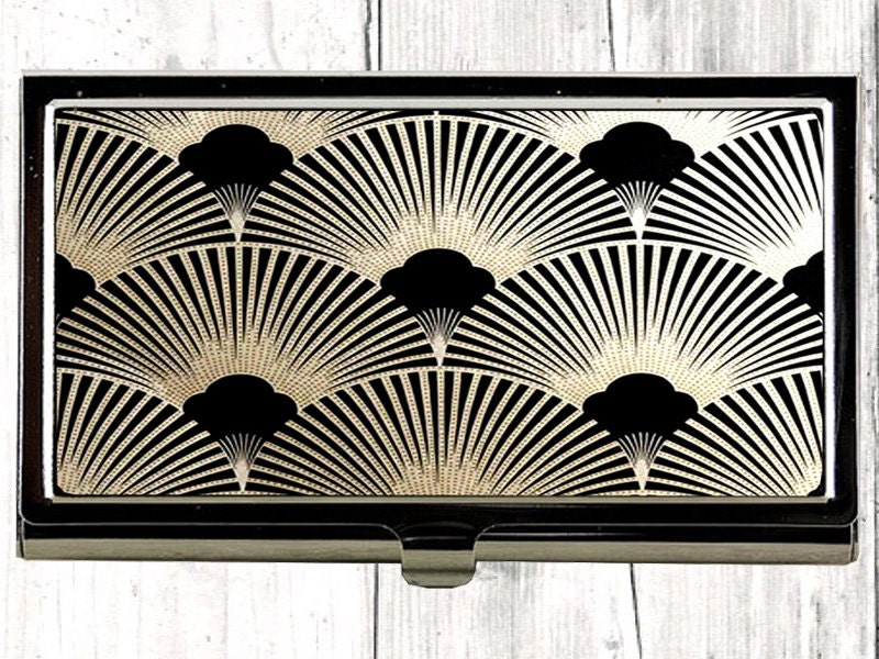 Art Deco Business Card Case Metal Card Case Black Card Case