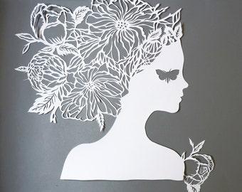 "Art Paper Cutting  ""Lady Butterfly""  Hand Papercut, Original Paper Cut Artwork Floral Girls Silhouette"