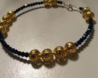 Brilliant Blue and Gold Beaded Bracelet
