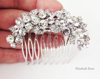 Small Rhinestone and Crystal Wedding Hair Comb, Sparkly Hair Jewellery for Wedding, Bridal Hair Comb, Silver Crystal Hair Comb for Bun