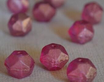 10 Fuchsia English Cut Beads 10mm- Czech Glass Beads (300-10)