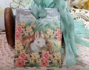 Handmade Easter Gift Tags, Art Tags, Easter Rabbit, Shabby Chic Easter Tags, Bunny Rabbit Gift Tags,Easter Decor, Rabbits, Easter Rabbits
