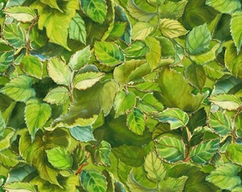 """Leaves Green, 1 Yard 25"""", Fine Quilt Fabric, Wilmington Prints, Flowers of the Sun, Lush Green Leaves, Leafy Greens, Bright Green, Leaves"""