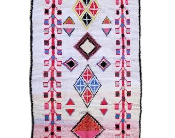 """87""""X51"""" Handwoven moroccan rug boucherouite, handmade moroccan rug, floor rug boucherouite, colorful  boucherouite rug, moroccan rugs,"""