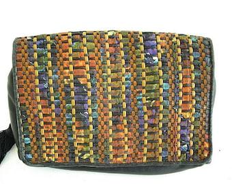 DESIGNER SHARIF PURSE. 1980s Vintage Bag. Tie Dye Leather Shoulder Bag. Woven Tassel Purse.