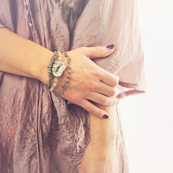 Natural Stone Bracelet Set of Three - Stackable Bracelets