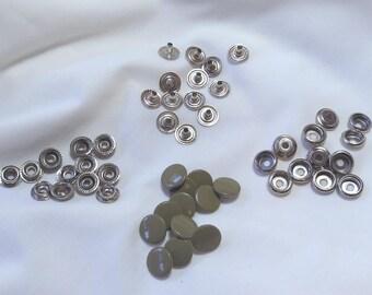 12 khaki 13mm jeans buttons hammer on buttons press studs new - UK seller