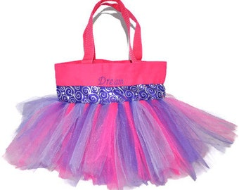 Tutu Bag, Purple Whimsical Ribbon,  Personalized Girl, Ballet Bag, Dance Class Bag, Kids Bag, Party Favors Whimsical