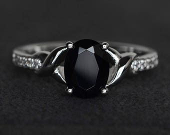 oval black spinel ring black rings sterling silver black gemstone ring