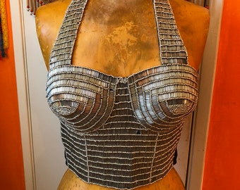 Silver Beaded Corset- Sequined Crop Top- Beaded Bralette- Burning Man Clothing Women- Halter Top- Boho Festival Top- Madonna Costume