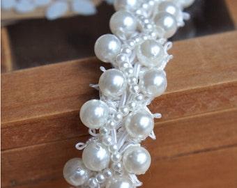 pearl beaded trim, bridal sash trim, jewelry trim, pearl beading trim, luxury trim